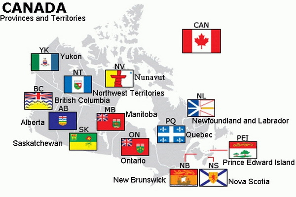 Canada its Provinces, Territories and Flags