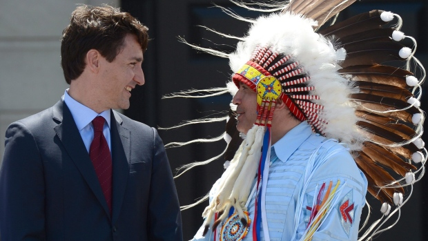 Prime Minister Justin Trudeau, left, and Perry Bellegarde